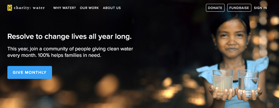 A screen capture of the Charity: Water home page call-to-action